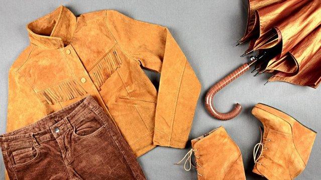 Куртка, зонтик, брюки