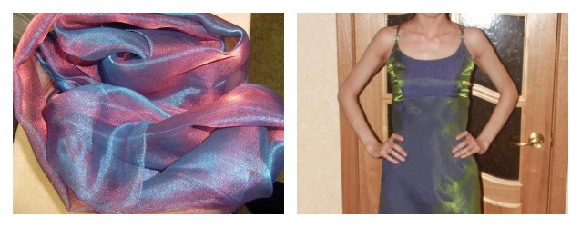 Платье из материала хамелион