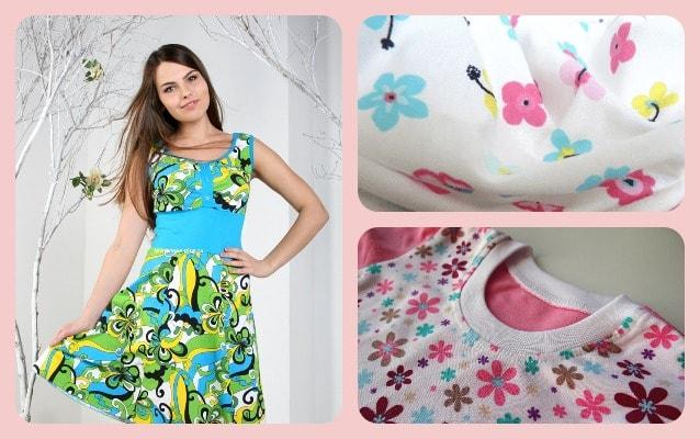 Девушка в платье, майка и ткань