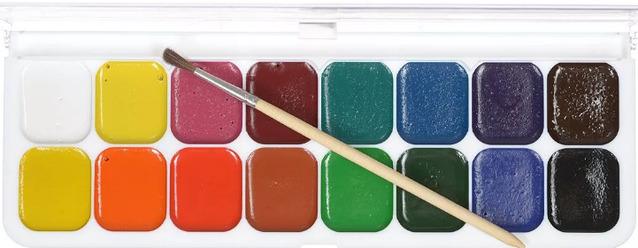 Акварельные краски с кисточкой
