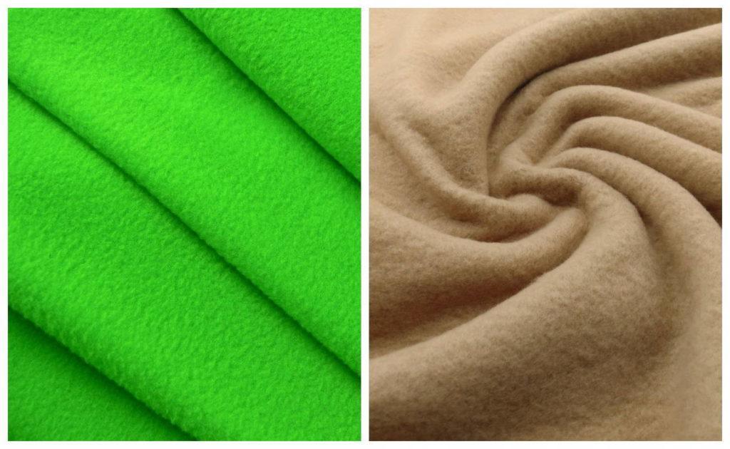 Ткань флисовая зеленая и пудра