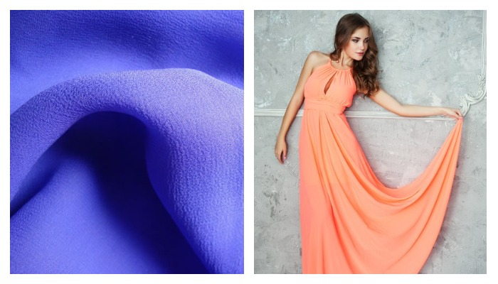 Платье из шелковой ткани креп жержет