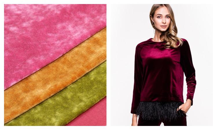 Ткань велюр в разных цветах