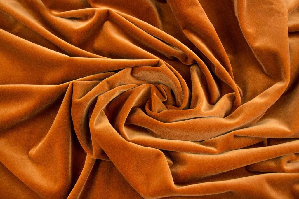 Ткань бархат терракотового цвета
