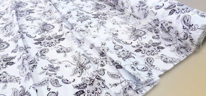 Ткань поликоттон в цветочек