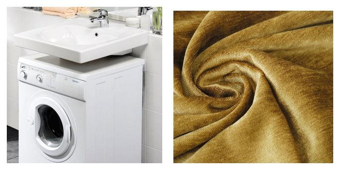 Стиральная машинка на кухне и ткань