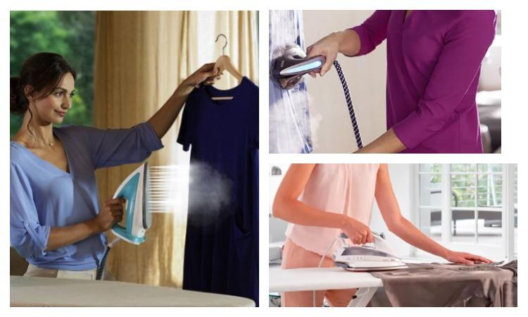 Девушка отпаривает бархатное платье