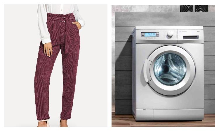Стиральная машинка и вельветовые брюки