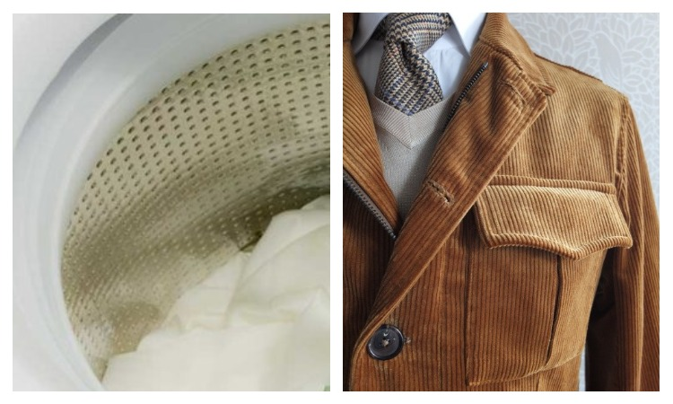 Пиджак из вельвета и стиральная машинка