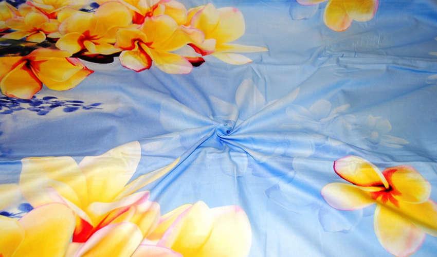 Ткань мако сатин, принт цветы на голубом фоне