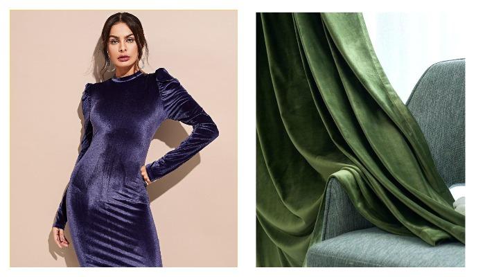 Девушка в платье из ткани бархат