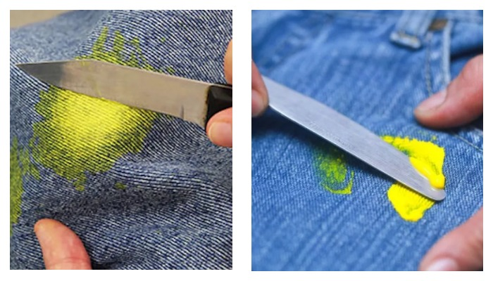 Засохшая краска на одежде