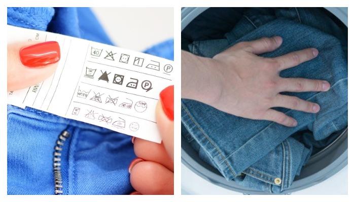 Этикетка с джинс, правила стирки