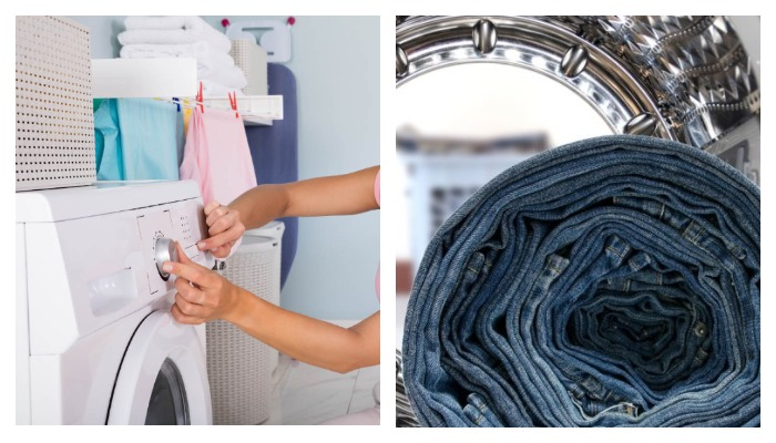 Девушка настраивает стиральную машину