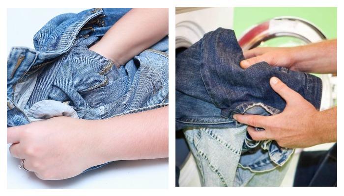 Подготовка джинс к стирке