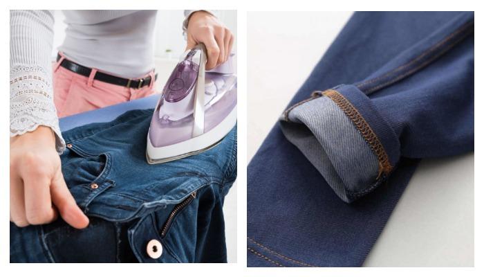 Женщина гладит джинсы