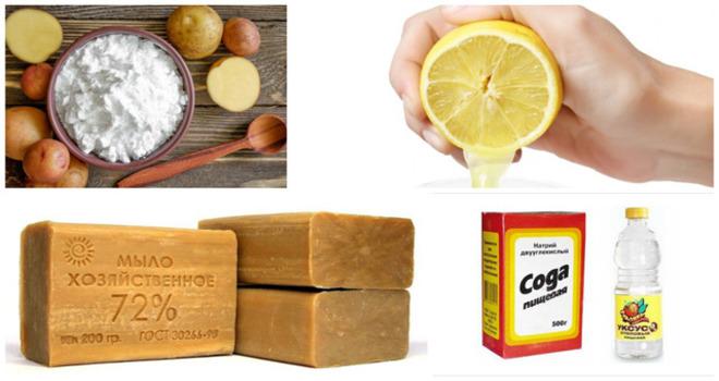 Сода, лимон, хозяйственное мыло