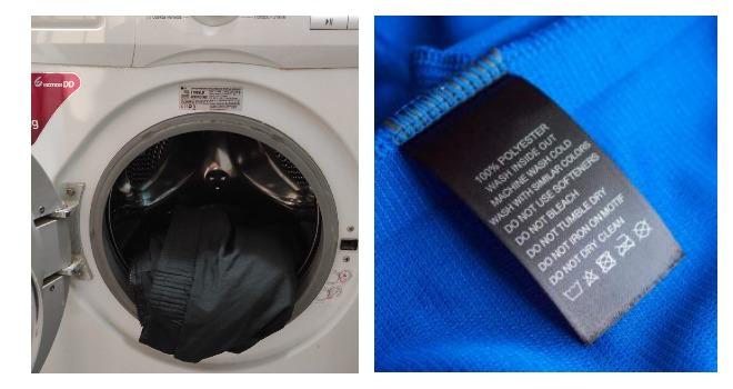 В стиральной машине вещь из синтетики