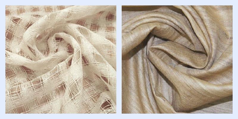 Два вида ткани из буретного шелка