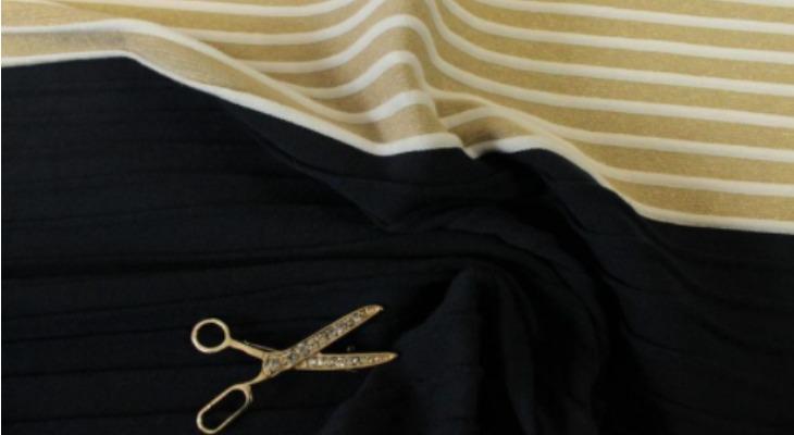 Гофрированная ткань черно-бежевого цвета