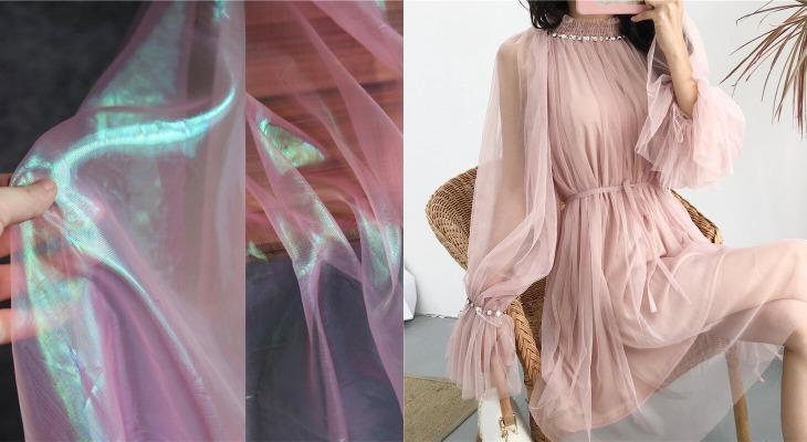 Длинное платье из прозрачной ткани виссон