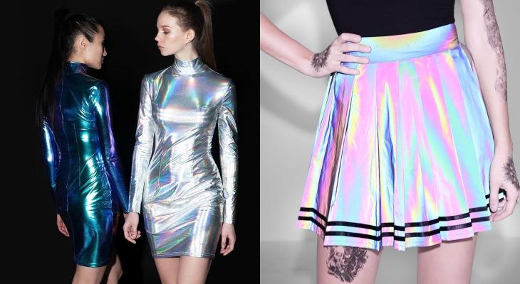 Юбка и платье из ткани голограмма