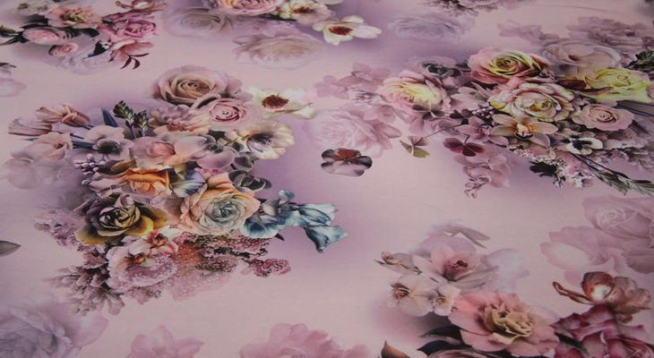 Ткань кади — розы на пудре