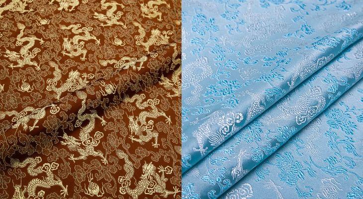 Ткань клоке в коричневом и голубом цвета