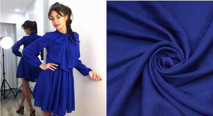 Платье из ткани шелк кади