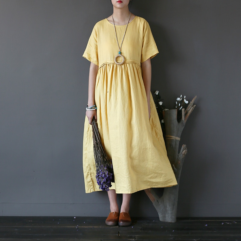 Платье из ткани песок цвет желтый