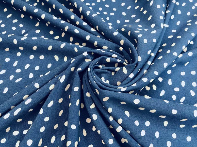 Ткань супер софт горох на голубом