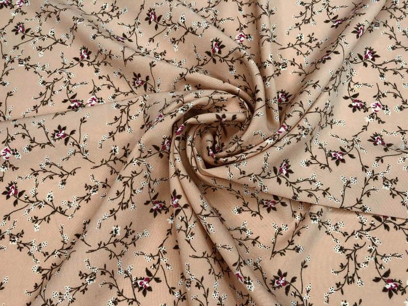 Ткань софт цветы на бежевом