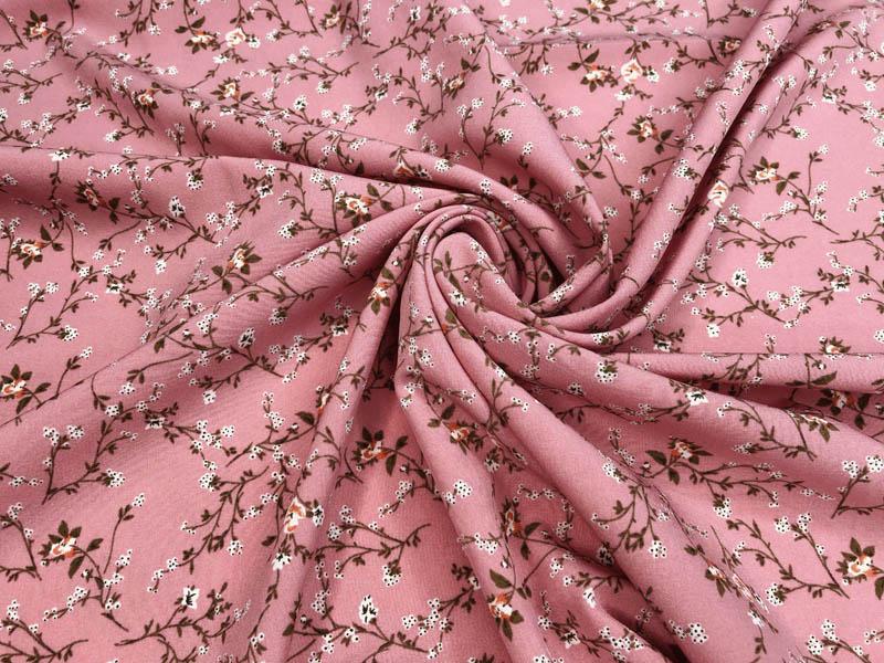 Ткань софт цветы на розовом