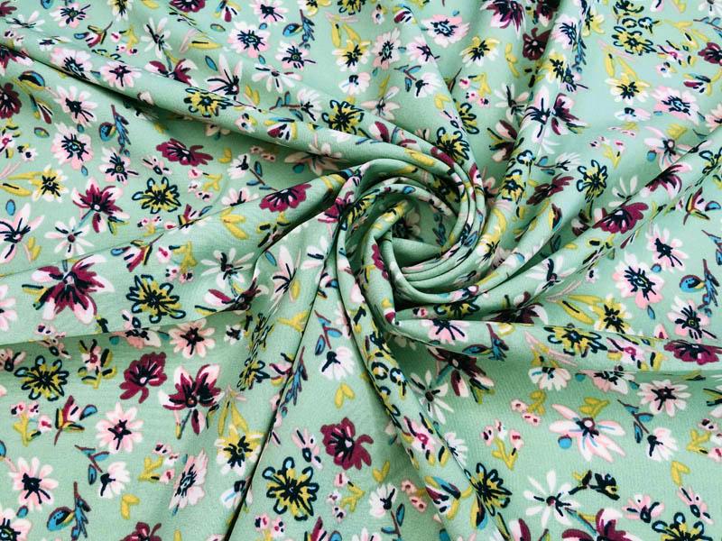 Ткань софт цветы на ментоле