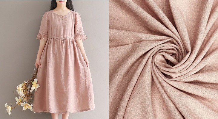 Платье полулен цвет пудра