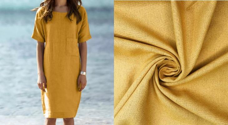 Платье полулен желтое