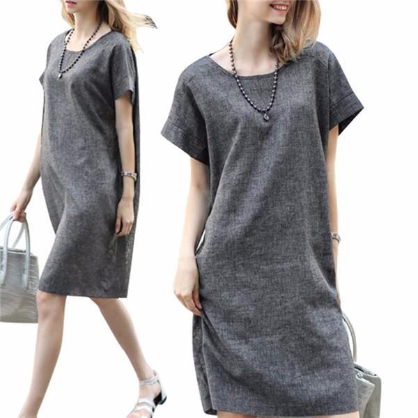 Серое платье из ткани нанка