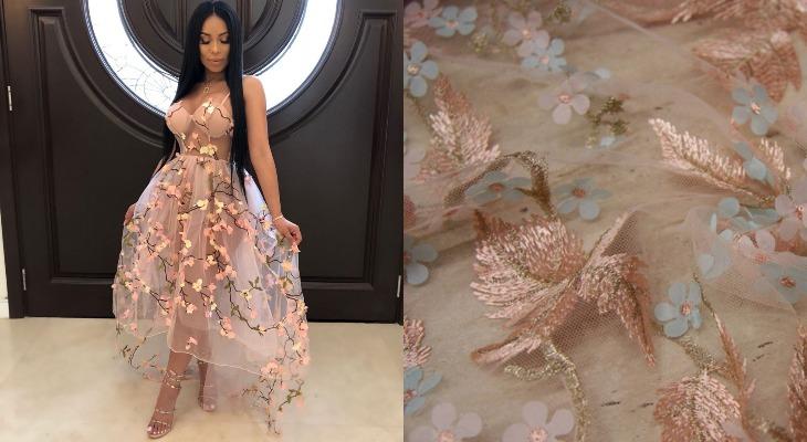 Платье сетчатое с вышивкой