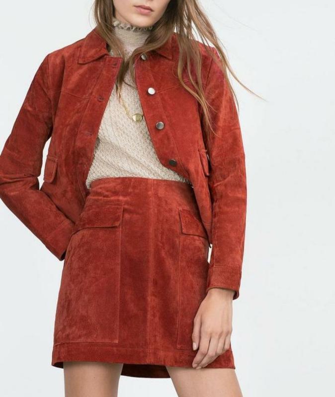 Пиджак с юбкой микровельвет