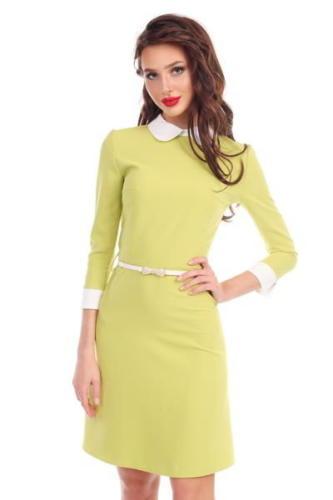 Желтое платье с воротником